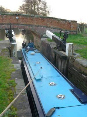 Being assisted into a very narrow lock
