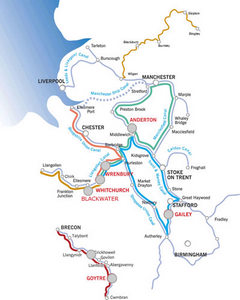 Canal map of popular routes