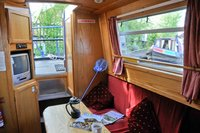 The canal boat lounge, equipped with TV & DVD