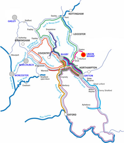 Banbury and return canal boat holiday cruising route