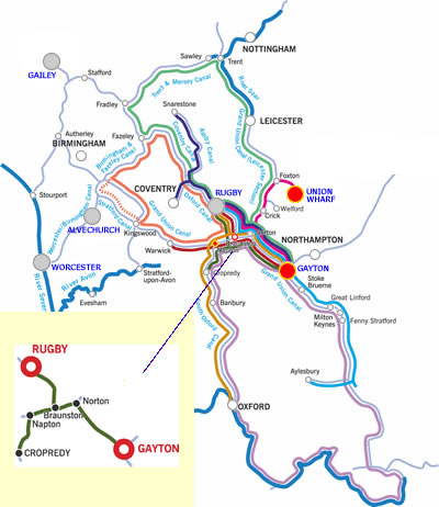 Napton and return canal boat holiday route
